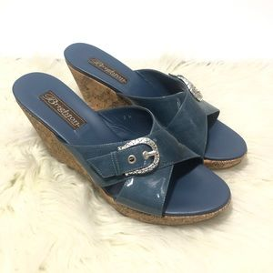 Brighton Summer 199 Blue Cork Wedges